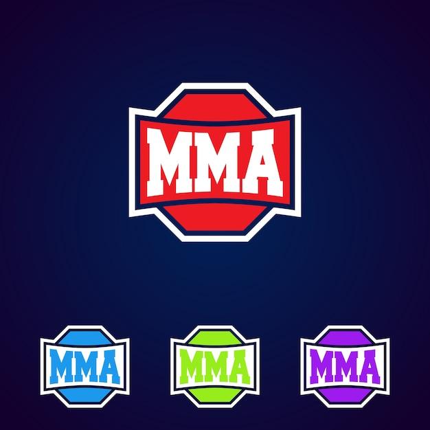 Mma. diseño de logotipo de plantilla de artes marciales mixtas profesional moderno. Vector Premium