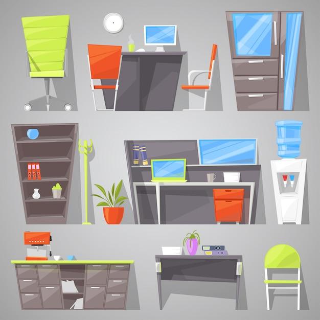 Mobiliario de oficina, diseño de muebles de mesa, silla o sillón en el interior amueblado de la ilustración del gabinete de los trabajadores, amueblar la habitación en la casa para estudio o trabajo oficial conjunto aislado en el fondo Vector Premium