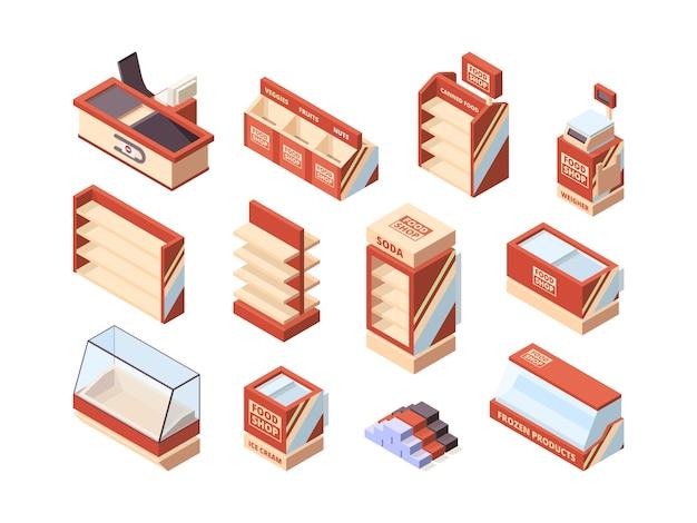 Mobiliario de tienda de abarrotes. cuadros de pago estantes carritos de compras frigoríficos supermercado artículos isométricos vector Vector Premium