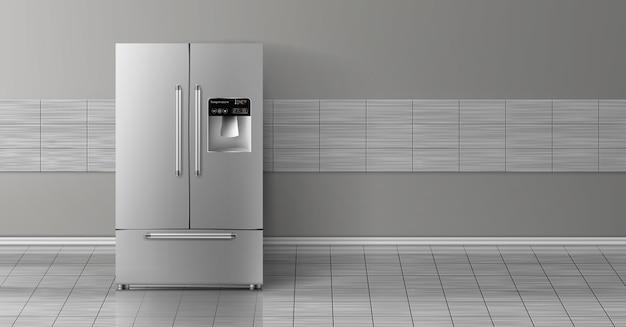 Mock realista en 3d con refrigerador de dos cámaras gris aislado en la pared de azulejos. vector gratuito