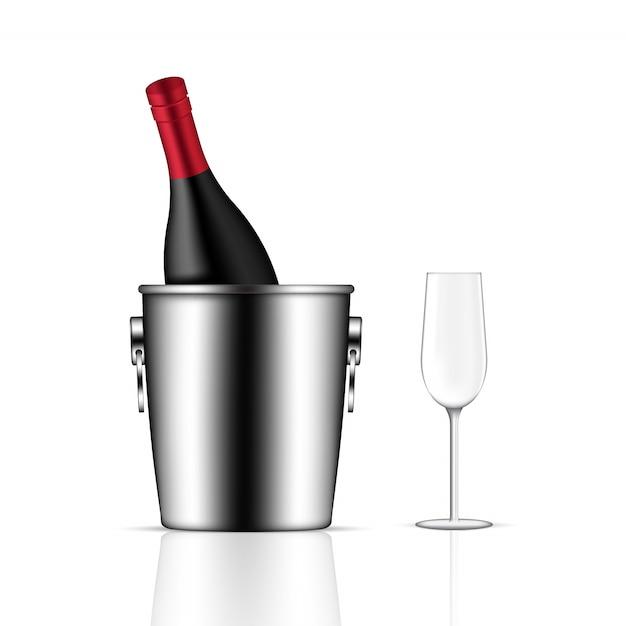 Mock up realista botella de vino Vector Premium