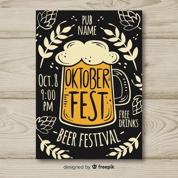 Mockup de cartel para el oktoberfest dibujado a mano vector gratuito