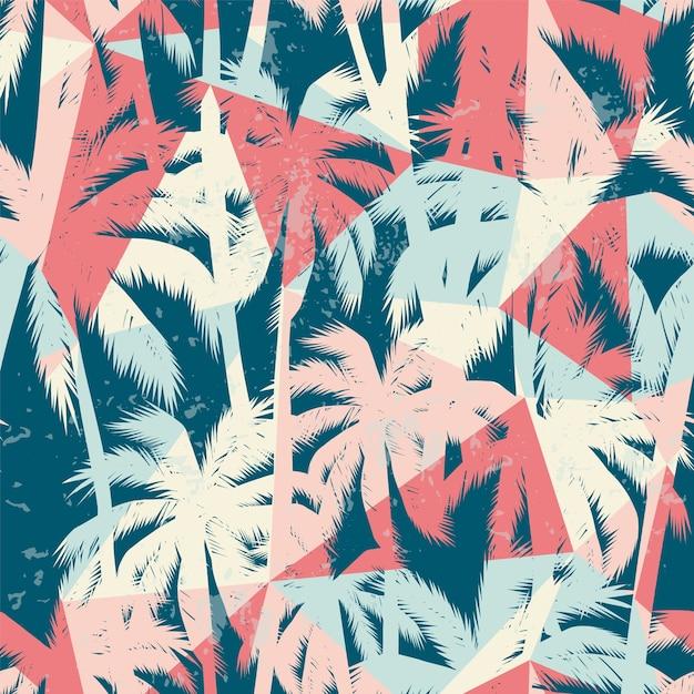 228d9839b3 Moda exótica de patrones sin fisuras con la palma y elementos geométricos.