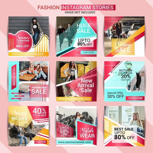Moda instagram historia y plantilla de post Vector Premium