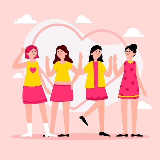 Moda joven grupo de chicas k-pop ilustrado vector gratuito