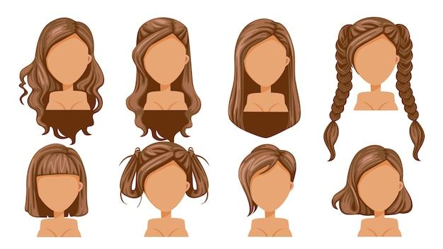 Moda moderna del peinado hermoso de la mujer marrón del pelo para el surtido. Vector Premium