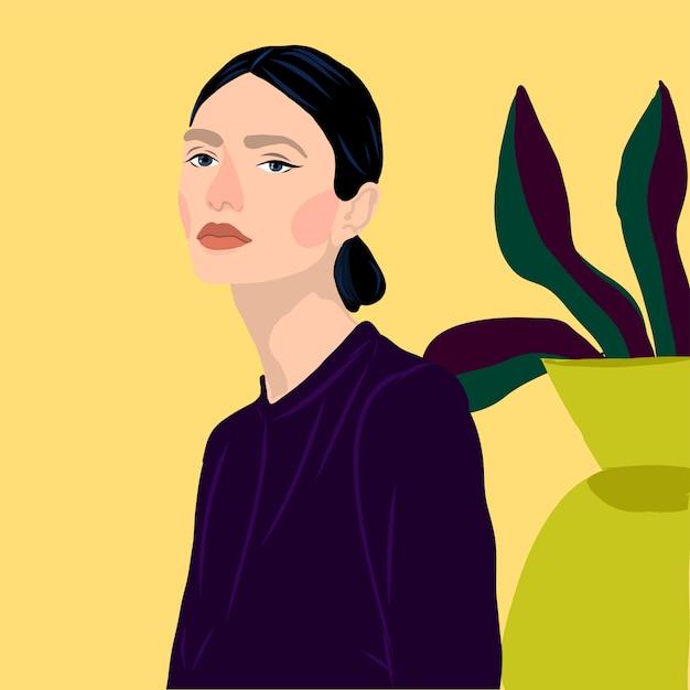 La moda de las mujeres jovenes de la muchacha del estilo del retrato con las plantas vector el ejemplo Vector Premium