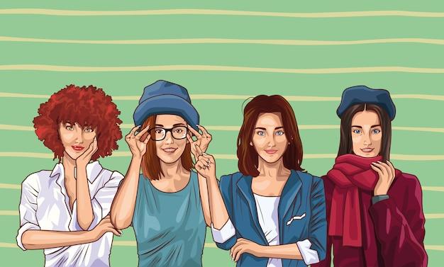 Moda pop art y dibujos animados de mujeres hermosas Vector Premium