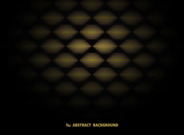 Modelo abstracto del art déco del oro en negro. Vector Premium