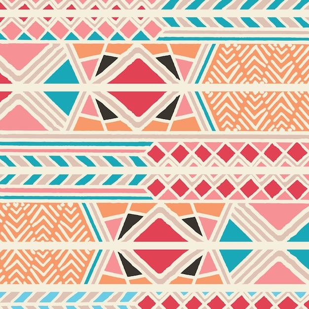 Modelo bohemio colorido étnico tribal con elementos geométricos, paño de barro africano, diseño tribal Vector Premium