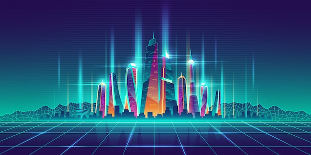 Modelo de dibujos animados virtual de metrópolis del futuro. vector gratuito