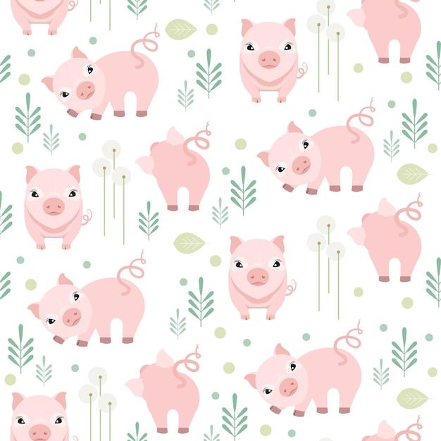 Modelo inconsútil del cerdo lindo en el fondo blanco. patrón animal de granja Vector Premium
