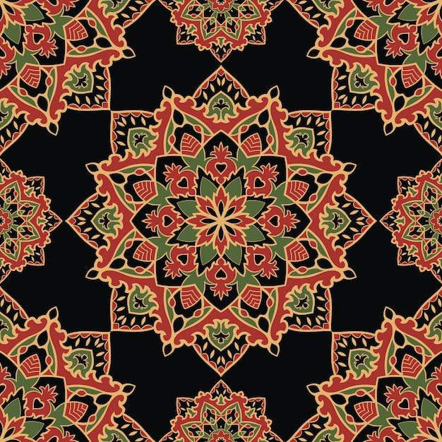 Modelo inconsútil del ornamento oriental colorido de los mandalas. Vector Premium