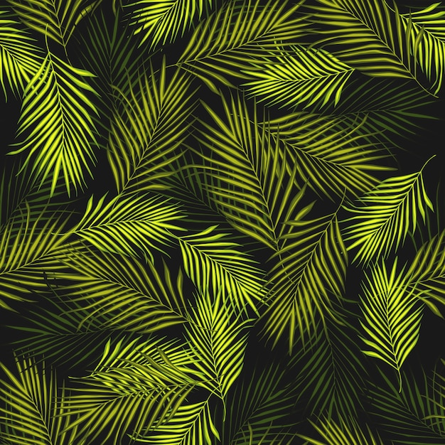 Modelo inconsútil de la planta exótica abstracta sobre fondo negro. Vector Premium