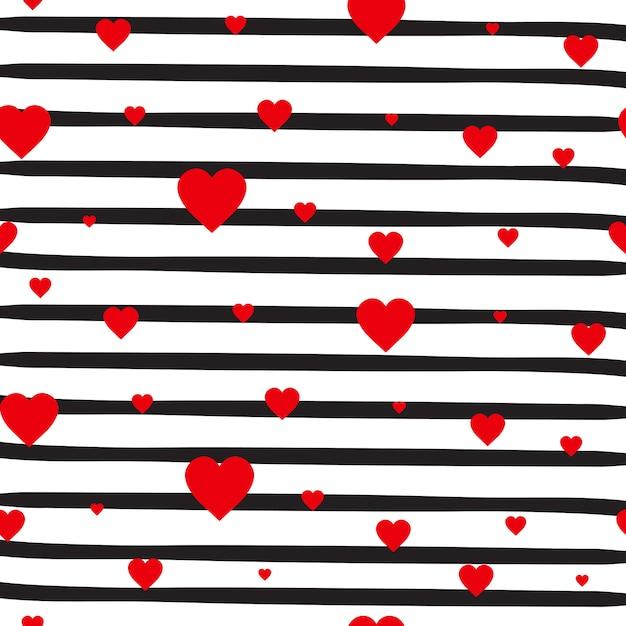 Modelo inconsútil retro corazones rojos sobre fondo blanco rayas adorno del día de san valentín Vector Premium