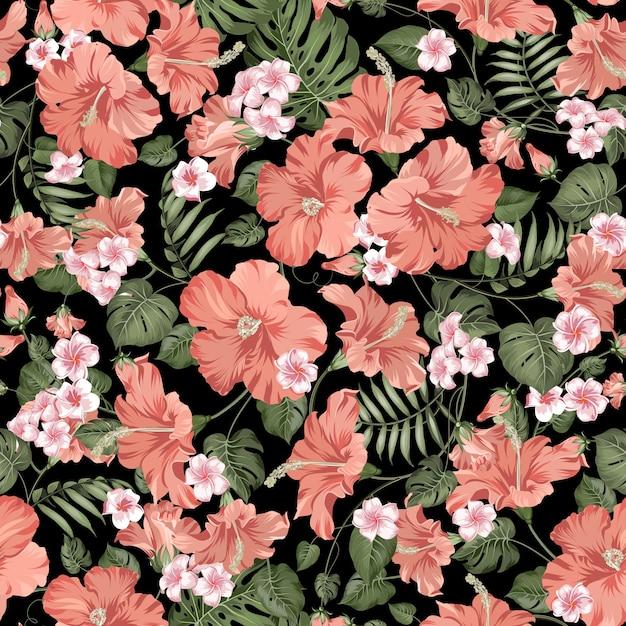 Modelo inconsútil tropical. hibisco floreciente sobre fondo negro. vector gratuito