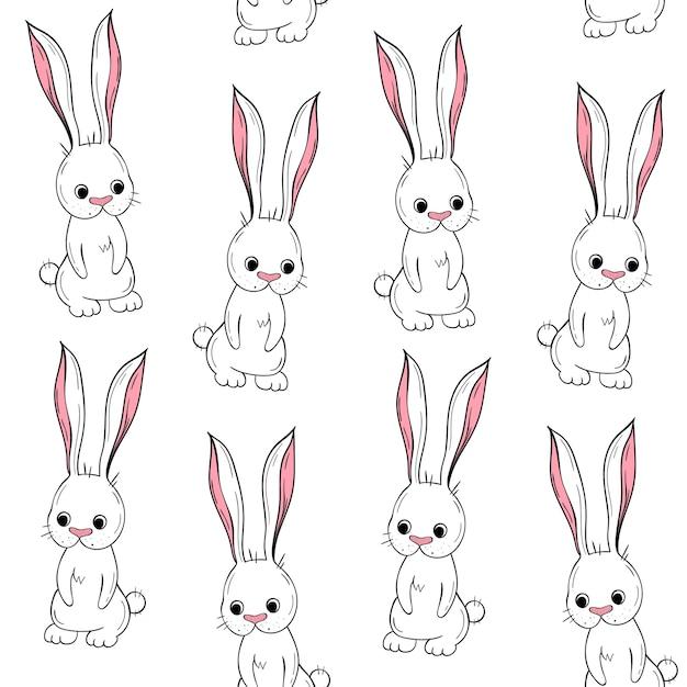 Modelo inconsútil del vector conejo lindo. motivos escandinavos ...
