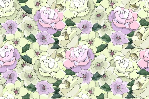 Modelo inconsútil del vector floral del arte con las flores amarillas claras y rosadas. Vector Premium