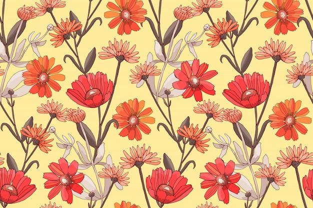 Modelo inconsútil del vector floral del arte con las flores rojas y anaranjadas. Vector Premium