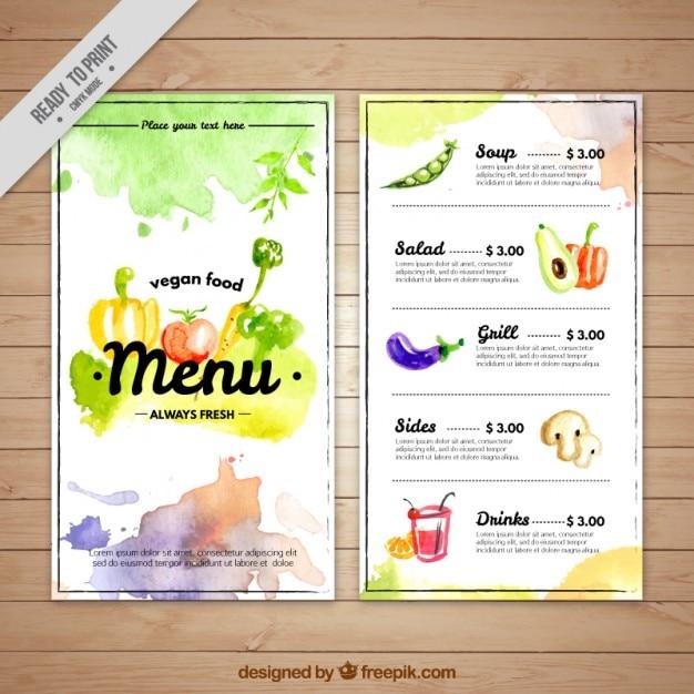Modelo de menú vegano artístico de acuarela vector gratuito