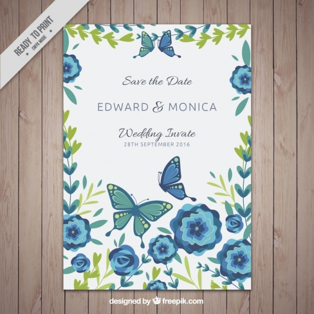 Modelo De Tarjeta De Invitación Con Flores Y Mariposas