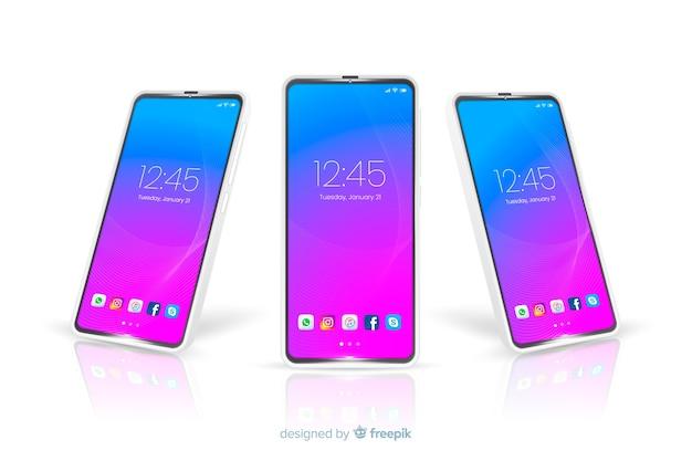 Modelo de teléfono móvil con vista frontal y lateral Vector Premium