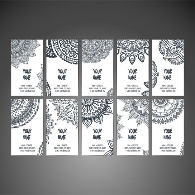 Modelos de tarjetas de negocio en estilo boho  Vector Gratis
