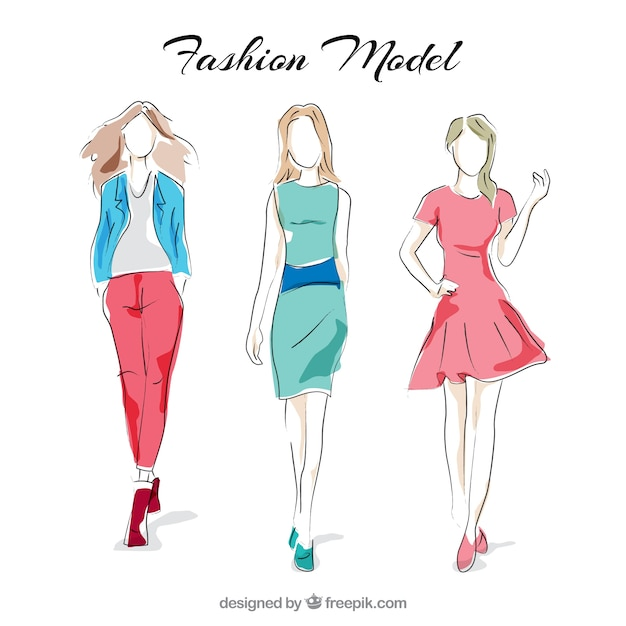 Modelos de moda elegantes vector gratuito