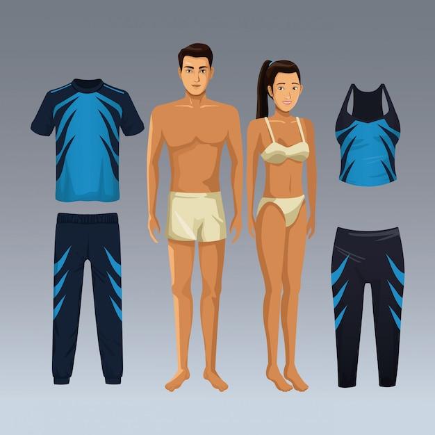 3431e3e87641c Modelos de mujer y hombre con ropa deportiva de fitness