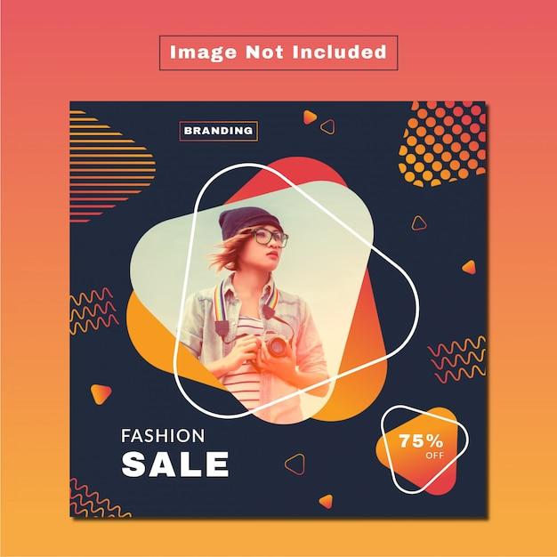 Modern fashion sale social web & print banner Vector Premium