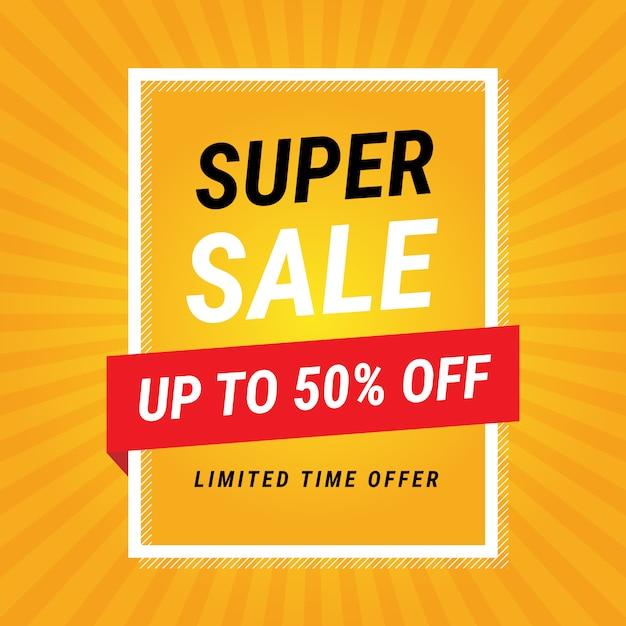Modern super sale yellow banner design vector gratuito