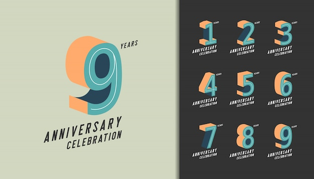 Moderna celebración de aniversario con colores pastel. Vector Premium