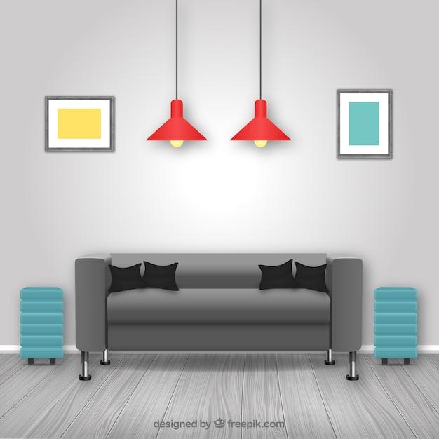 Moderna sala de estar descargar vectores gratis for Casa moderna vector