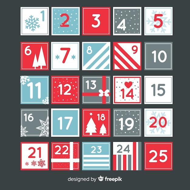 Moderno calendario de adviento vector gratuito