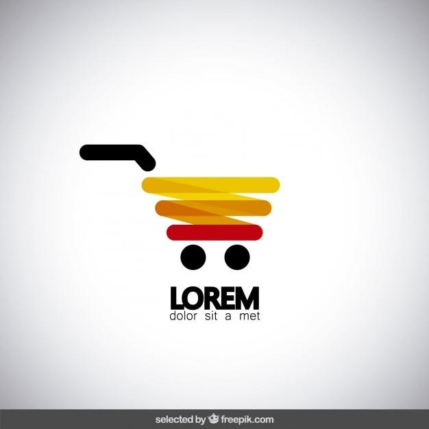 Moderno carrito de compras logo vector gratuito
