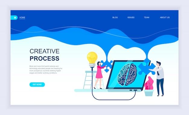 Moderno concepto de diseño plano del proceso creativo. Vector Premium