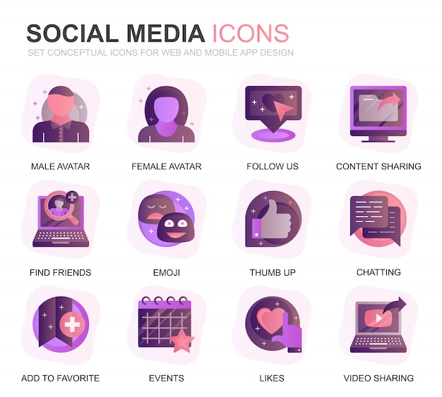 Moderno conjunto de redes sociales y red iconos degradados planos Vector Premium