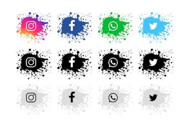 Moderno conjunto de redes sociales splash vector gratuito