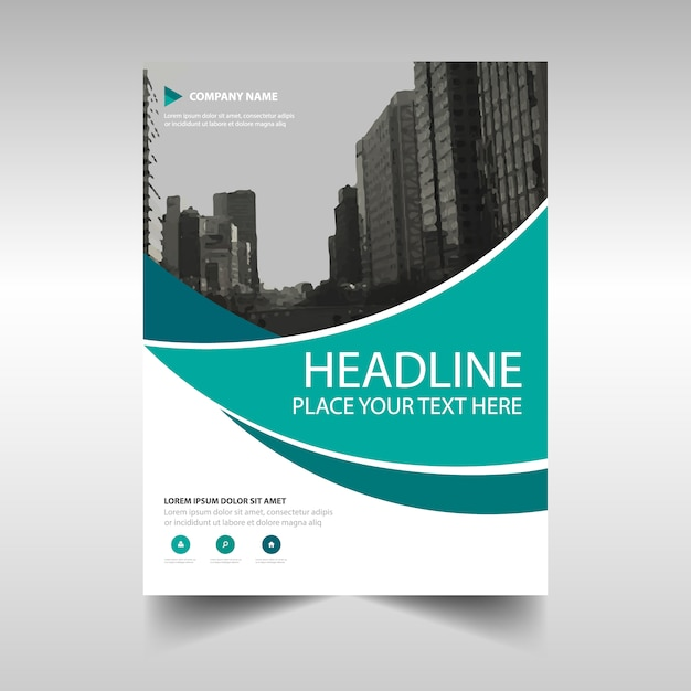 Moderno folleto corporativo con formas onduladas Vector Gratis