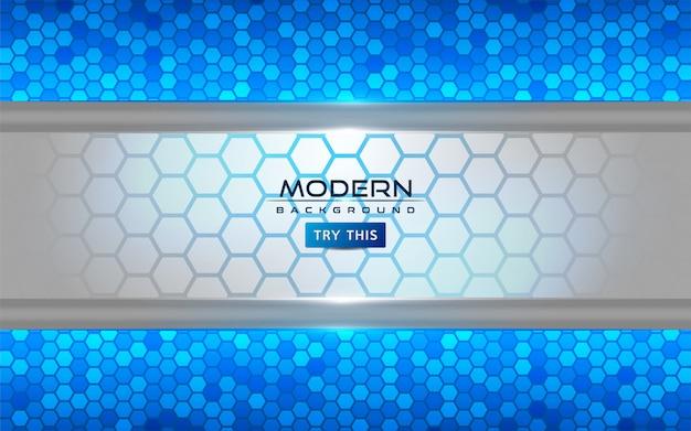 Moderno fondo abstracto blanco y azul con efecto de líneas brillantes Vector Premium