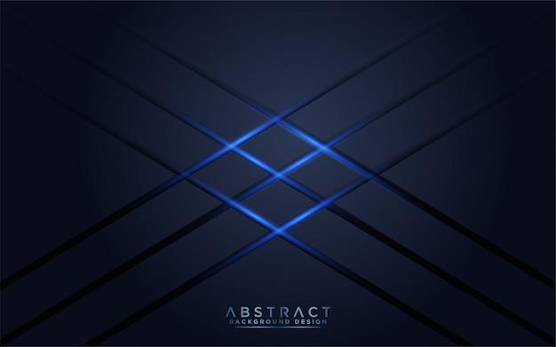 Moderno fondo azul marino oscuro con luz azul Vector Premium