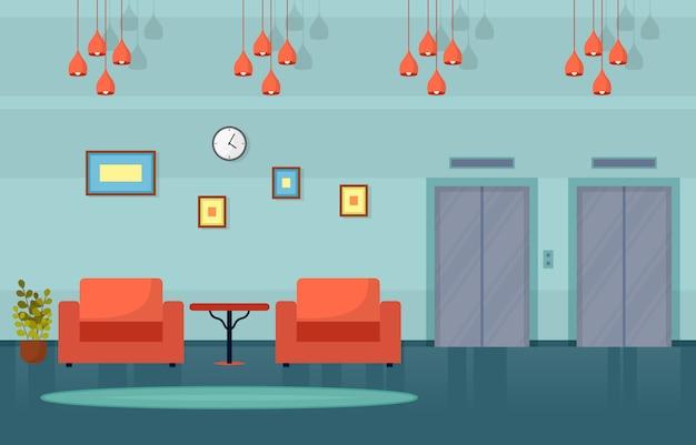 Moderno hotel lobby habitación muebles decoración interior ilustración Vector Premium