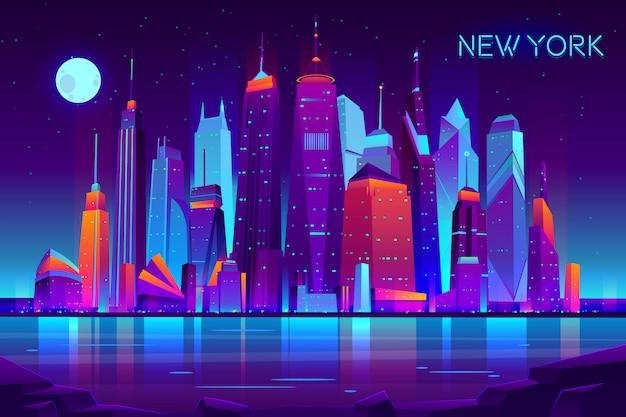 Moderno paisaje de la noche de vector de dibujos animados de nueva york vector gratuito