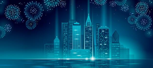 Moderno rascacielos vacaciones navidad paisaje urbano. año nuevo línea de punto poligonal azul oscuro cielo nocturno víspera plantilla de tarjeta de felicitación. silueta de ciudad de fiesta de luz brillante Vector Premium