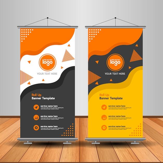 Moderno roll up banner con forma abstracta Vector Premium