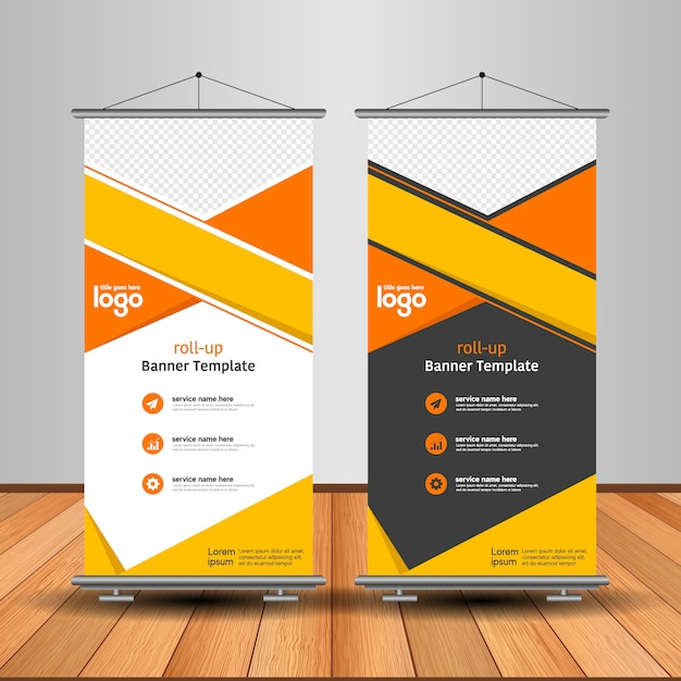 Moderno roll up banner con forma abstracta Vector Premium
