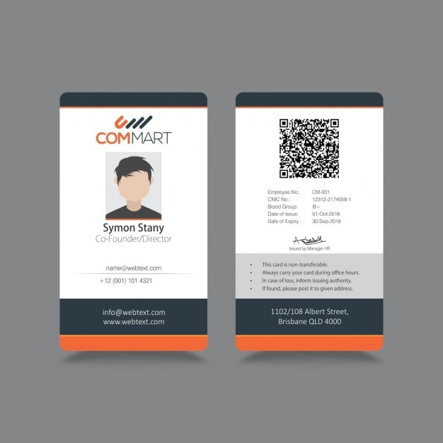Moderno sencilla id identidad corporativa 1026 for Staff id badge template
