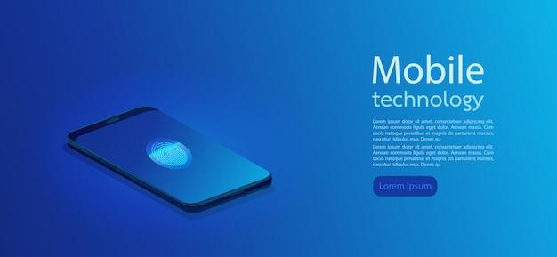 Moderno teléfono inteligente 3d realista con fondo abstracto degradado. ilustración vectorial Vector Premium