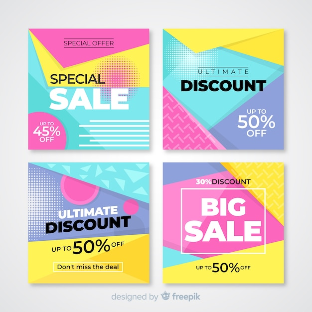 Modernos banners de venta para redes sociales. vector gratuito