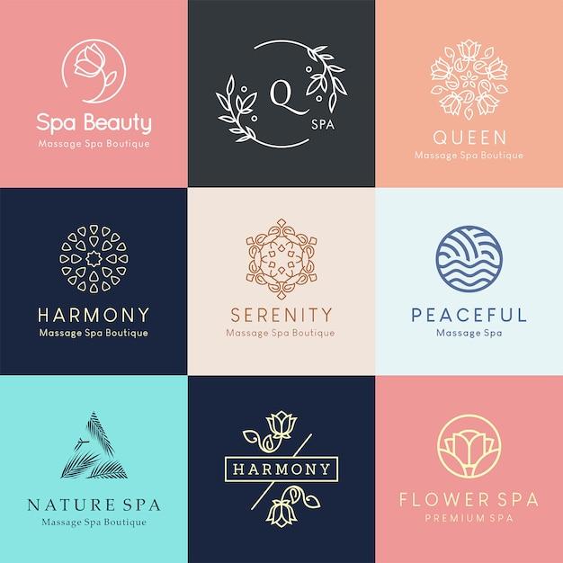 Modernos diseños de logotipo floral para centro de spa, salón de belleza o estudio de yoga. Vector Premium
